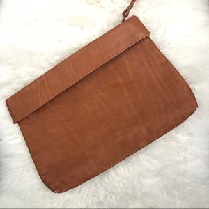 Vintage brown leather clutch